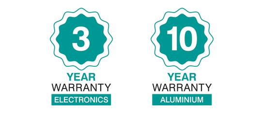 3 year, 10 year warranty